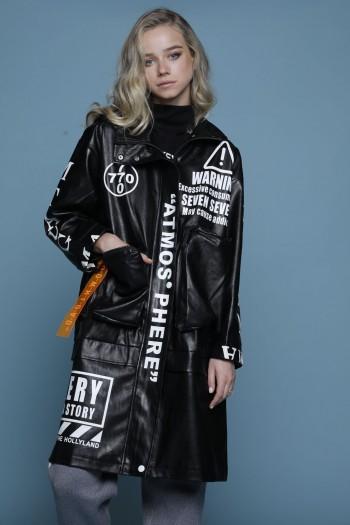 מעיל דמוי עור ארוך שחור ATMOSPHERE