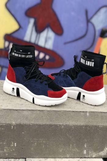 נעלי סניקרס גבוהות בגווני כחול ואדום OUTFIT