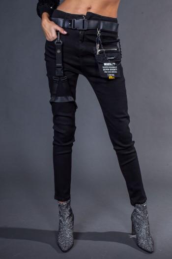 ג'ינס סקיני שחור רצועות WARNING