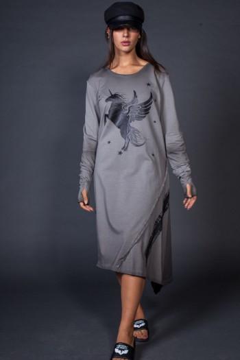 שמלה אפורה ארוכה HORSE