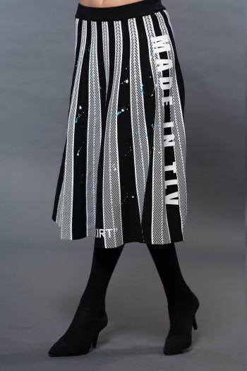 חצאית מידי סריג שחור לבן גזרת פעמון TLV