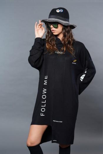 שמלה א-סימטרית שחורה FOLLOW ME