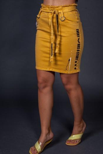 חצאית מיני חרדל STORY