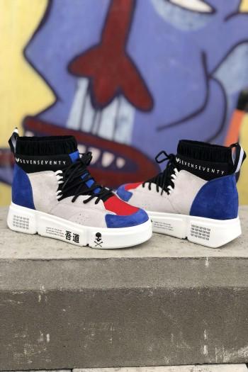נעלי סניקרס גבוהות בצבעי אפור כחול ואדום COLOR SKULL