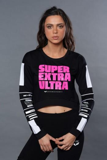 חולצת פוטר שחורה עם ורוד ניאון EXTRA