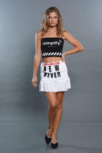 חצאית מיני כיווצים לבנה NEW