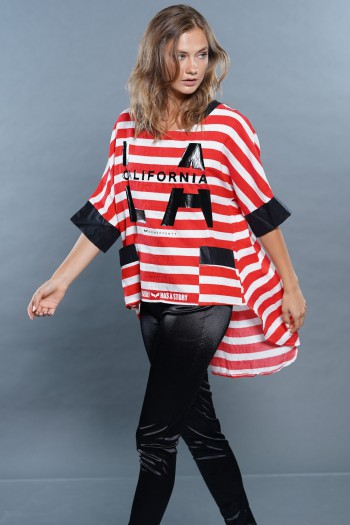 חולצת פשתן פסים אדומים LA