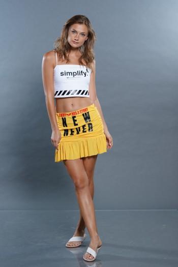 חצאית מיני כיווצים צהובה NEW
