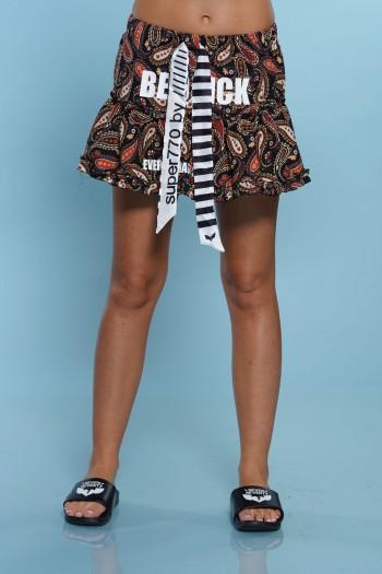 חצאית מיני צבעונית בגווני שחור אדום QUICK