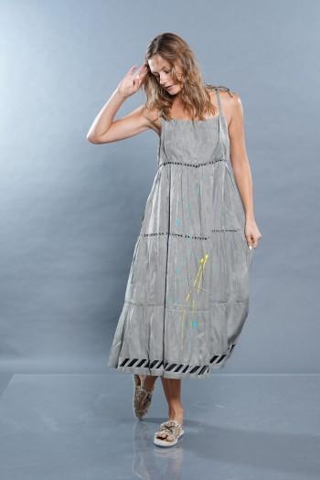 שמלה אפור זית SEVEN