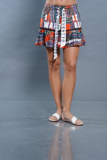 חצאית מיני כתומה עיטורים WANT