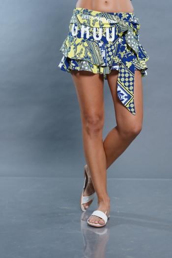 חצאית מיני עיטורים תכלת צהוב GROUND