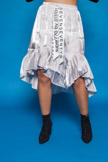 חצאית מידי בגוון אפור SEVENSEVENTY