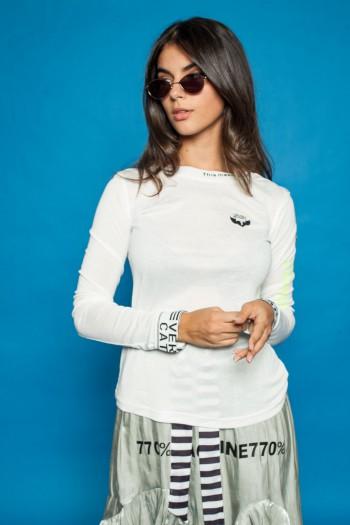 חולצת שרוול ארוך לבנה ANYTHING