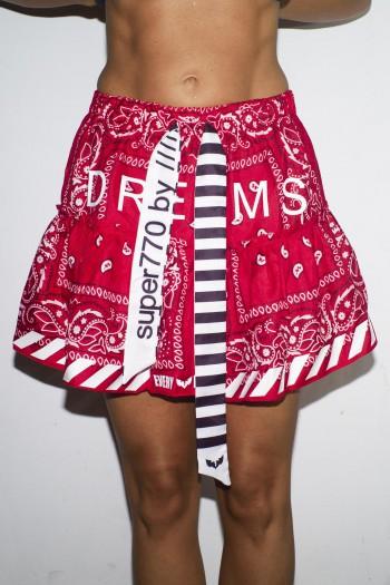 חצאית שכבות בנדנה אדומה בשקיפות קלה DREAMS