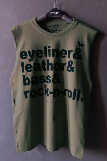 חולצה בצבע ירוק זית ללא שרוול ROCK