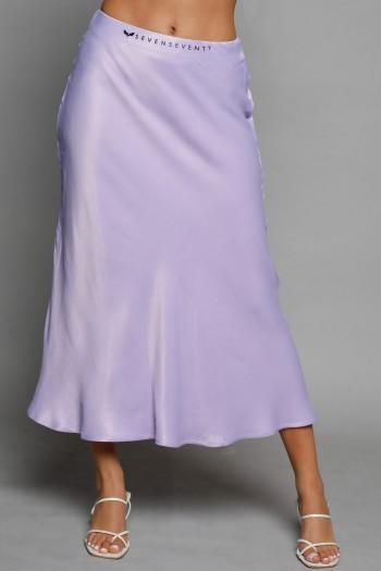 חצאית מידי סאטן בגוון סגול בהיר SEVEN