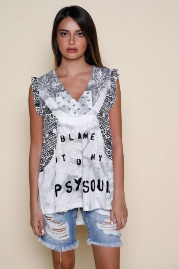 חולצה ללא שרוול שילוב בדים בגוונים אפורים BLAME