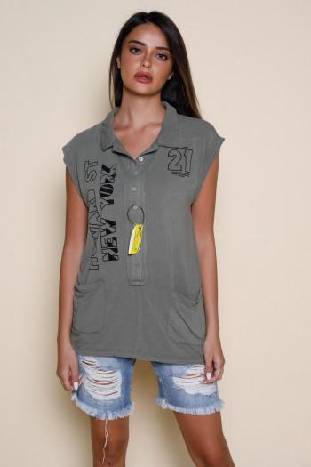 חולצה ללא שרוול מכופתרת כיסים NEW YORK