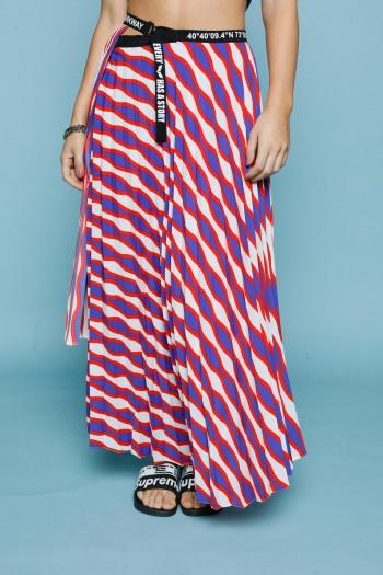 חצאית פליסה אורכים בגוונים אדומים PARKWAY