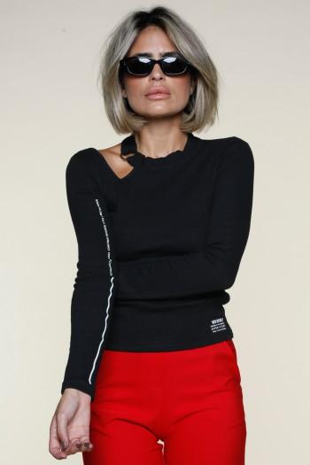 חולצת ריב שחורה מפתח עליון WARNING