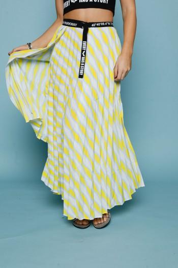 חצאית פליסה אורכים בגוונים צהובים PARKWAY