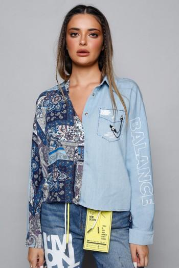 חולצת ג'ינס מכופתרת בשילוב הדפס בנדנה BALANCE