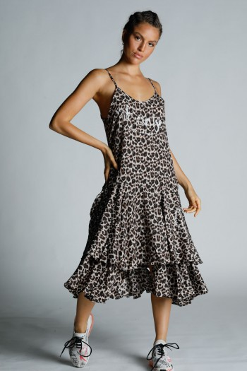 שמלת גופייה מקסי שכבות מנומרת ONLY