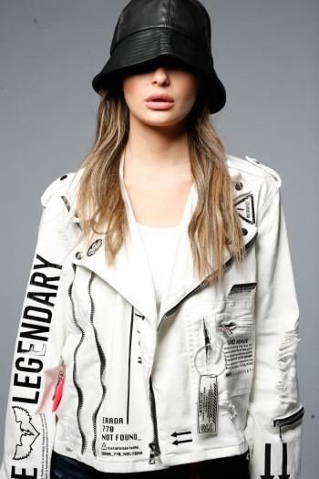 ג'קט ג'ינס לבן מעוצב LEGENDARY