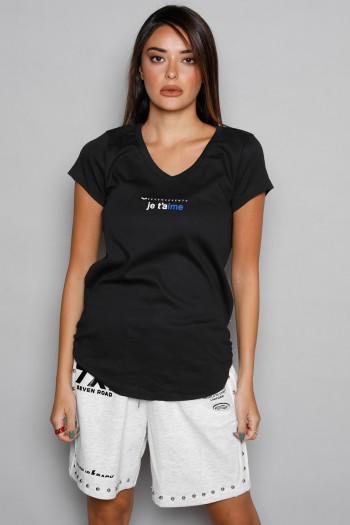 חולצת T שחורה Je T'aime