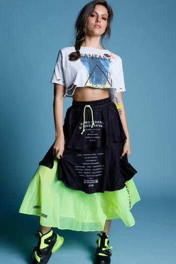 חצאית שכבות בגווני שחור וצהוב נאון  STRATEGY