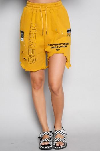 מכנסי ברמודה בגוון חרדל קרעים SUPER