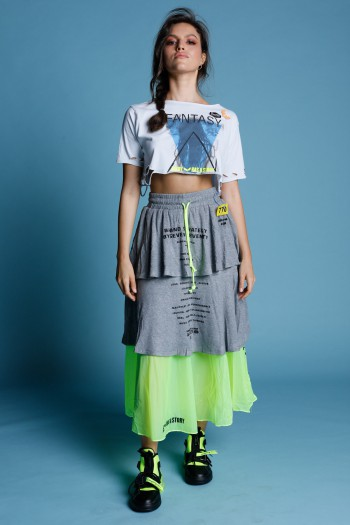 חצאית שכבות בגווני אפור וצהוב נאון  STRATEGY