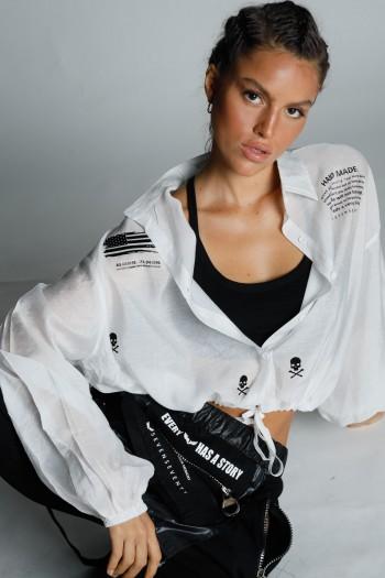 חולצה מכופתרת לבנה גומי קשירה HAND MADE