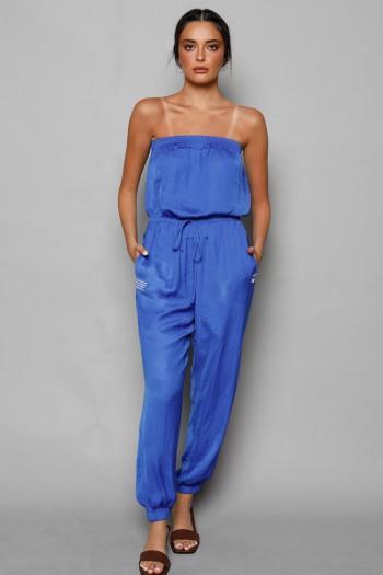 אוברול סאטן סטרפלס בגוון כחול BEAUTIFUL