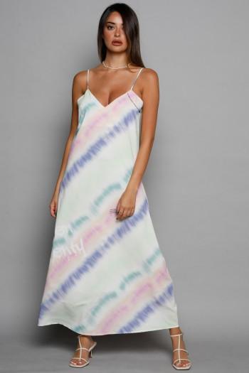 שמלת סאטן מקסי טאי דאי צבעונית CHARM