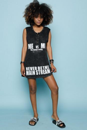 שמלת מיני טוניקה בגווני שחור MAIN STREAM