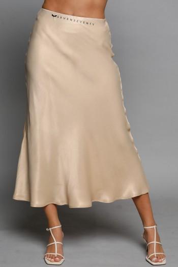 חצאית מידי סאטן בגוון בז' SEVEN