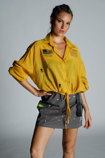חולצה מכופתרת חרדל גומי קשירה HAND MADE