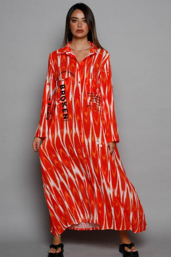 שמלת גלביה מכופתרת בגווני אדום ולבן BROKEN