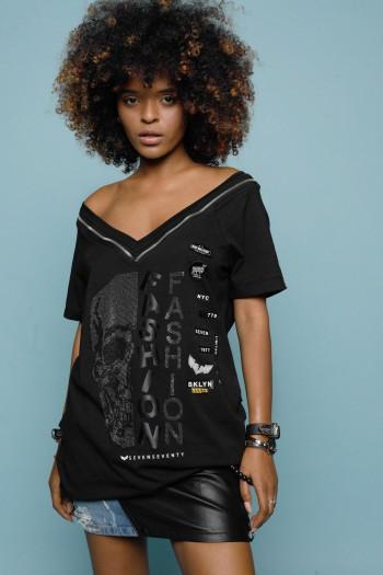 חולצת טוניקה שחורה הדפס אבנים גולגולת FASHION