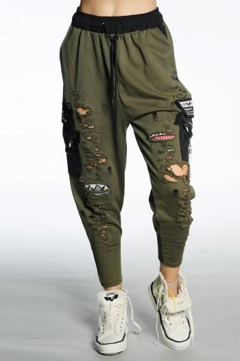 מכנסי ג'וגר קרעים בגוון זית  ATTITUDE