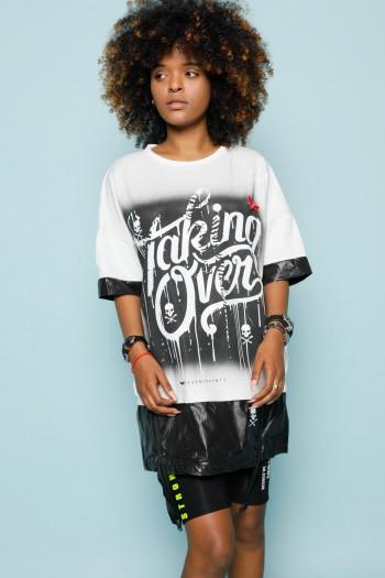 חולצת טוניקה בגווני לבן ושחור TALKING