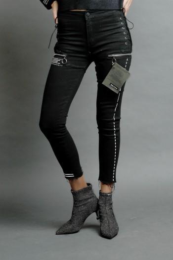 ג'ינס סקיני שחור קשירת שרוכים צידית NEW