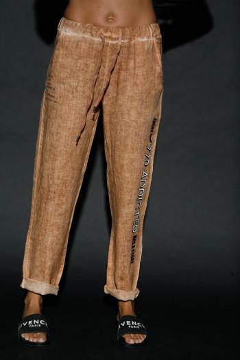 מכנסי פשתן חום חרדל ADDICTED