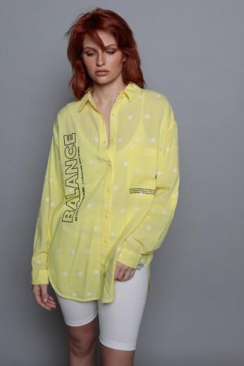 חולצה צהובה מכופתרת פטרן נקודות BALANCE