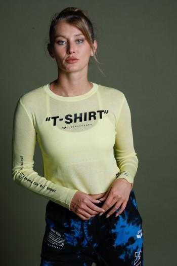 חולצת סריג עדין צהובה ארוכה T-shirt