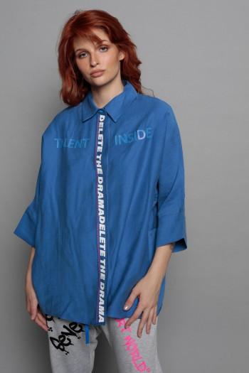 חולצה מכופתרת כחולה רחבה TALENT