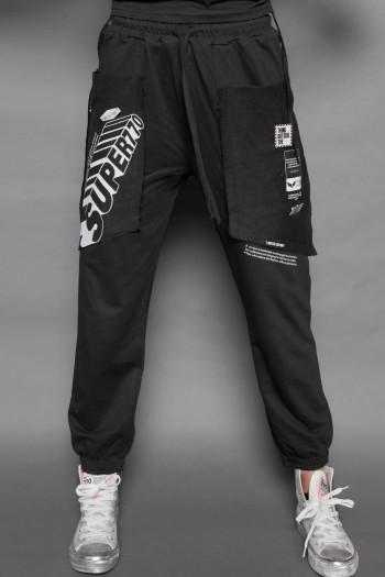 מכנסי פוטר ג'וגר כיסים שחורים SUPER