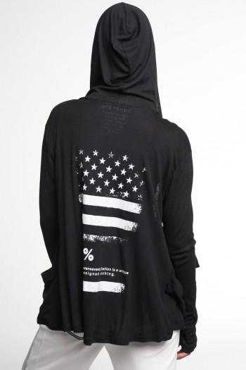 עליונית קפוצ'ון אסימטרית שחורה USA